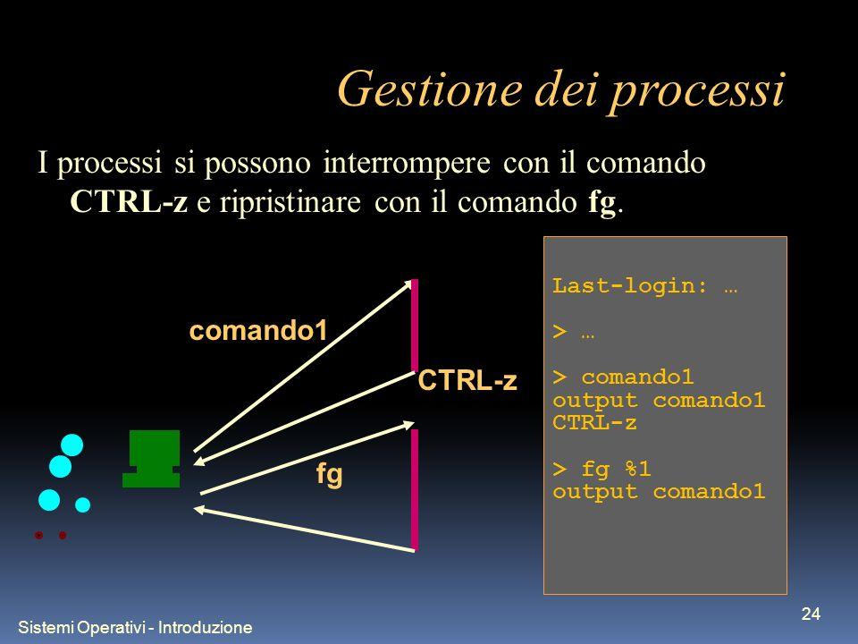 Sistemi Operativi - Introduzione 24 Gestione dei processi Last-login: … > … > comando1 output comando1 CTRL-z > fg %1 output comando1 I processi si possono interrompere con il comando CTRL-z e ripristinare con il comando fg.