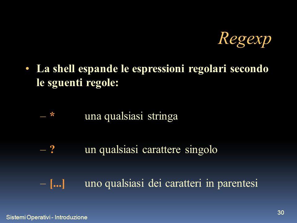 Sistemi Operativi - Introduzione 30 Regexp La shell espande le espressioni regolari secondo le sguenti regole: –*una qualsiasi stringa –?un qualsiasi carattere singolo –[...]uno qualsiasi dei caratteri in parentesi