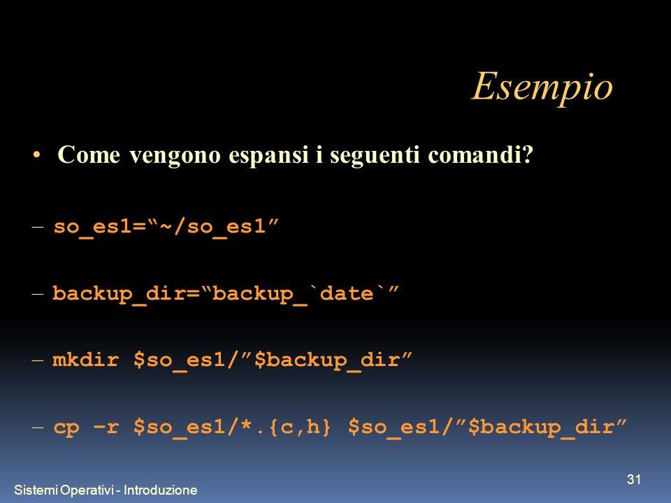 Sistemi Operativi - Introduzione 31 Esempio Come vengono espansi i seguenti comandi.