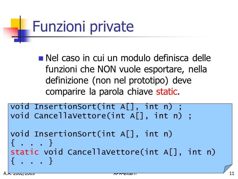 A.A. 2002/2003APA-extern11 Funzioni private Nel caso in cui un modulo definisca delle funzioni che NON vuole esportare, nella definizione (non nel pro