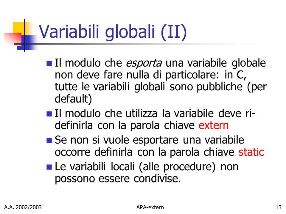 A.A. 2002/2003APA-extern13 Variabili globali (II) Il modulo che esporta una variabile globale non deve fare nulla di particolare: in C, tutte le varia