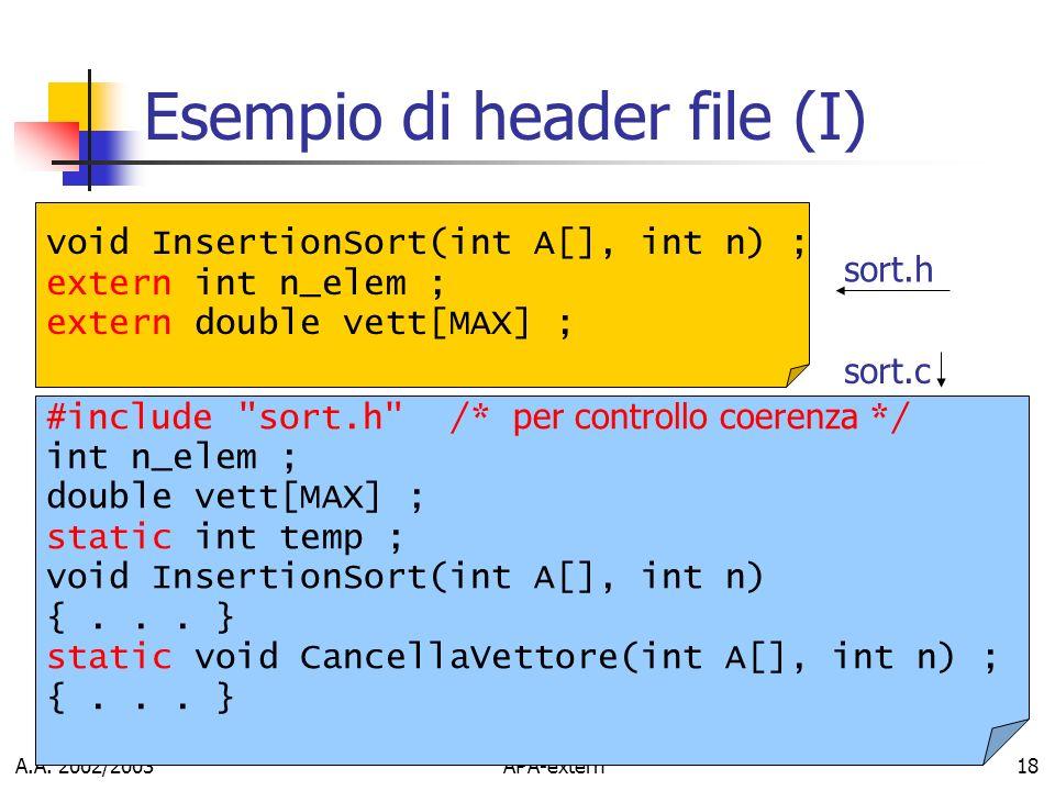 A.A. 2002/2003APA-extern18 Esempio di header file (I) #include