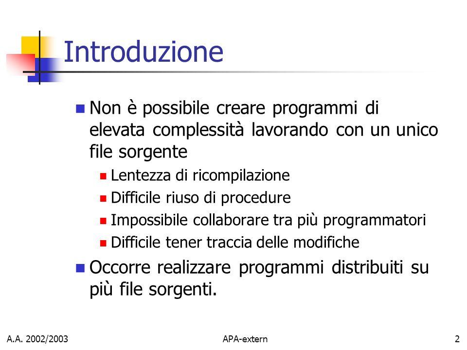 A.A. 2002/2003APA-extern2 Introduzione Non è possibile creare programmi di elevata complessità lavorando con un unico file sorgente Lentezza di ricomp