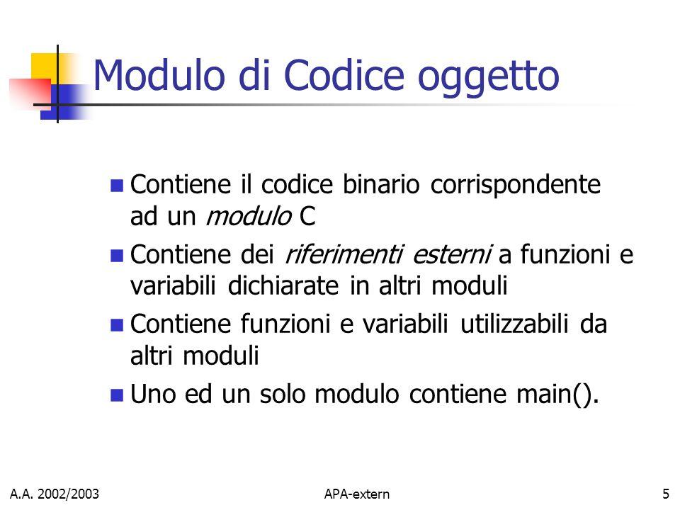 A.A. 2002/2003APA-extern5 Modulo di Codice oggetto Contiene il codice binario corrispondente ad un modulo C Contiene dei riferimenti esterni a funzion