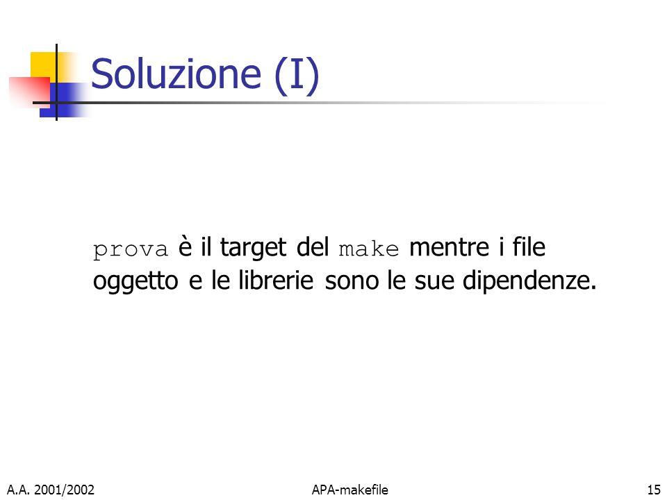 A.A. 2001/2002APA-makefile15 Soluzione (I) prova è il target del make mentre i file oggetto e le librerie sono le sue dipendenze.