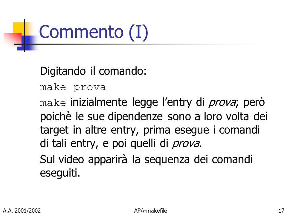 A.A. 2001/2002APA-makefile17 Commento (I) Digitando il comando: make prova make inizialmente legge lentry di prova; però poichè le sue dipendenze sono