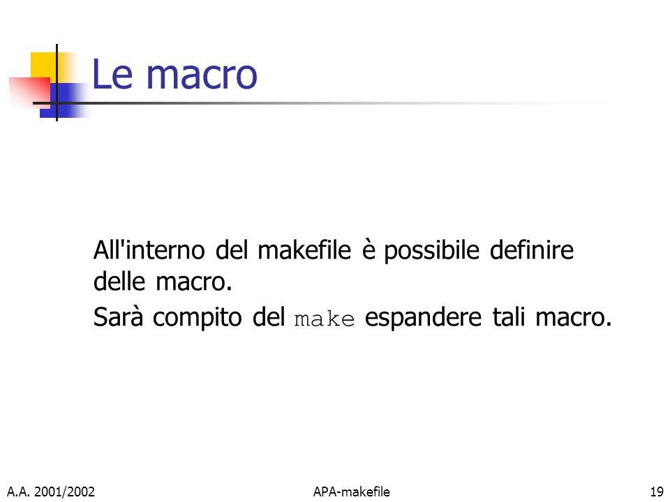 A.A. 2001/2002APA-makefile19 Le macro All'interno del makefile è possibile definire delle macro. Sarà compito del make espandere tali macro.