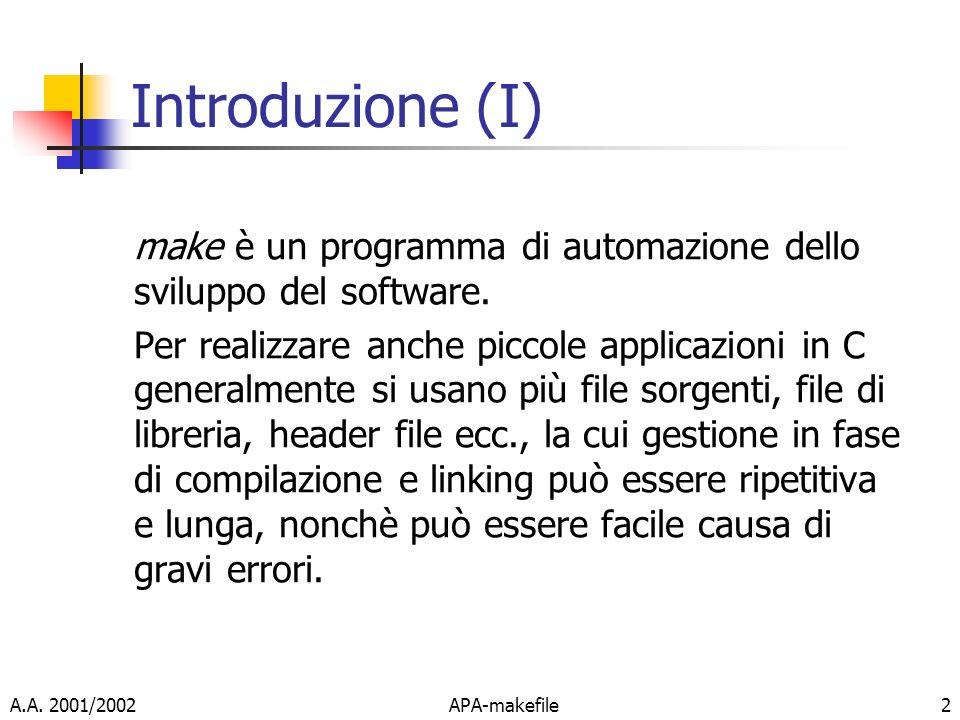A.A. 2001/2002APA-makefile2 Introduzione (I) make è un programma di automazione dello sviluppo del software. Per realizzare anche piccole applicazioni