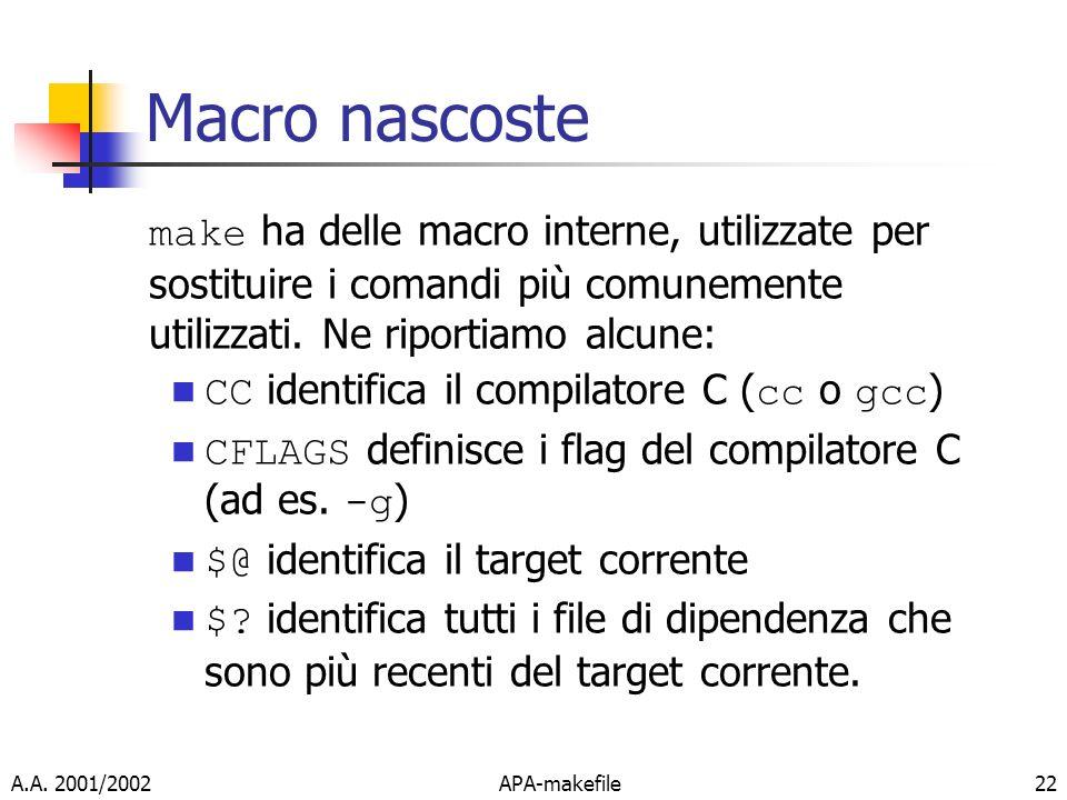 A.A. 2001/2002APA-makefile22 Macro nascoste make ha delle macro interne, utilizzate per sostituire i comandi più comunemente utilizzati. Ne riportiamo