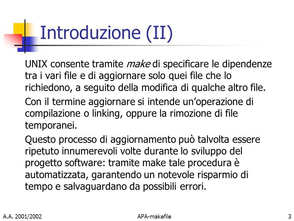 A.A. 2001/2002APA-makefile3 Introduzione (II) UNIX consente tramite make di specificare le dipendenze tra i vari file e di aggiornare solo quei file c