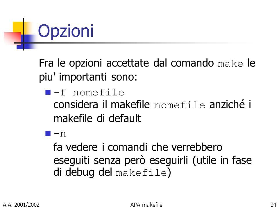 A.A. 2001/2002APA-makefile34 Opzioni Fra le opzioni accettate dal comando make le piu' importanti sono: -f nomefile considera il makefile nomefile anz