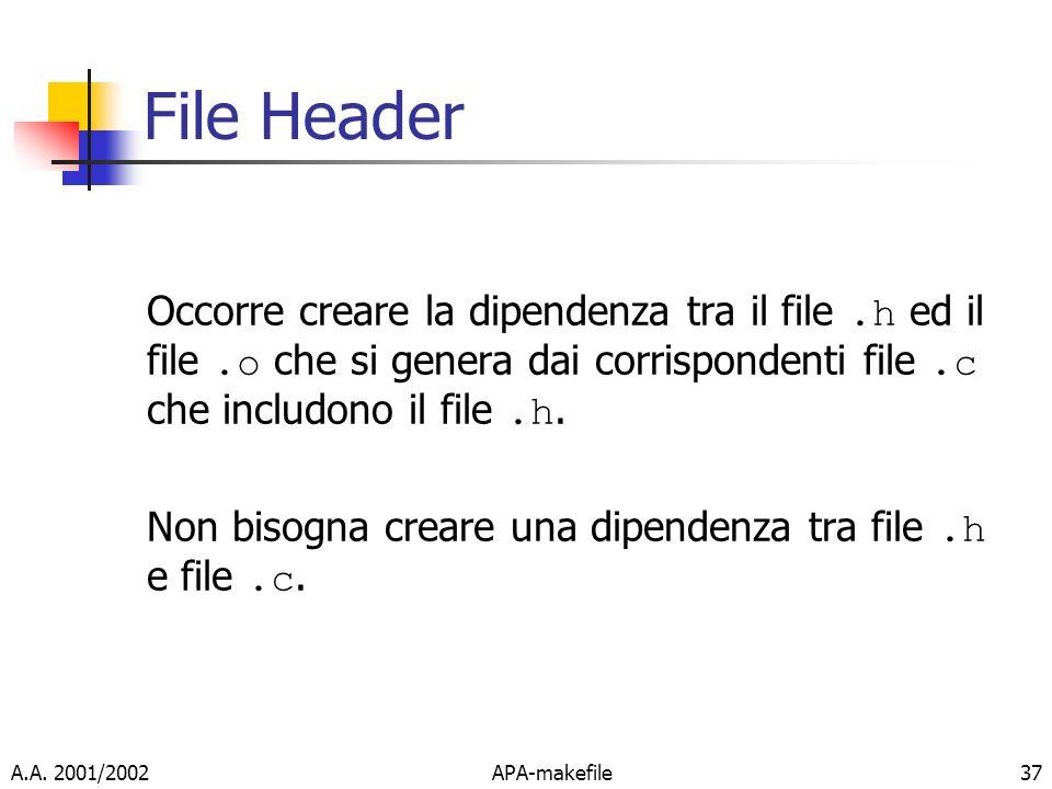 A.A. 2001/2002APA-makefile37 File Header Occorre creare la dipendenza tra il file.h ed il file.o che si genera dai corrispondenti file.c che includono