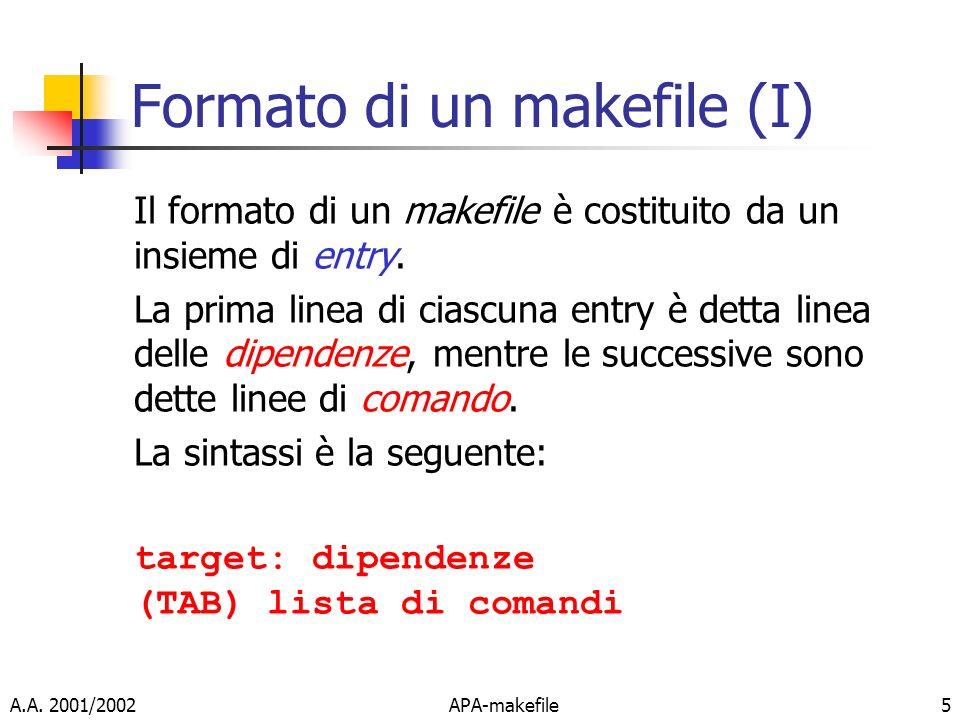 A.A. 2001/2002APA-makefile5 Formato di un makefile (I) Il formato di un makefile è costituito da un insieme di entry. La prima linea di ciascuna entry