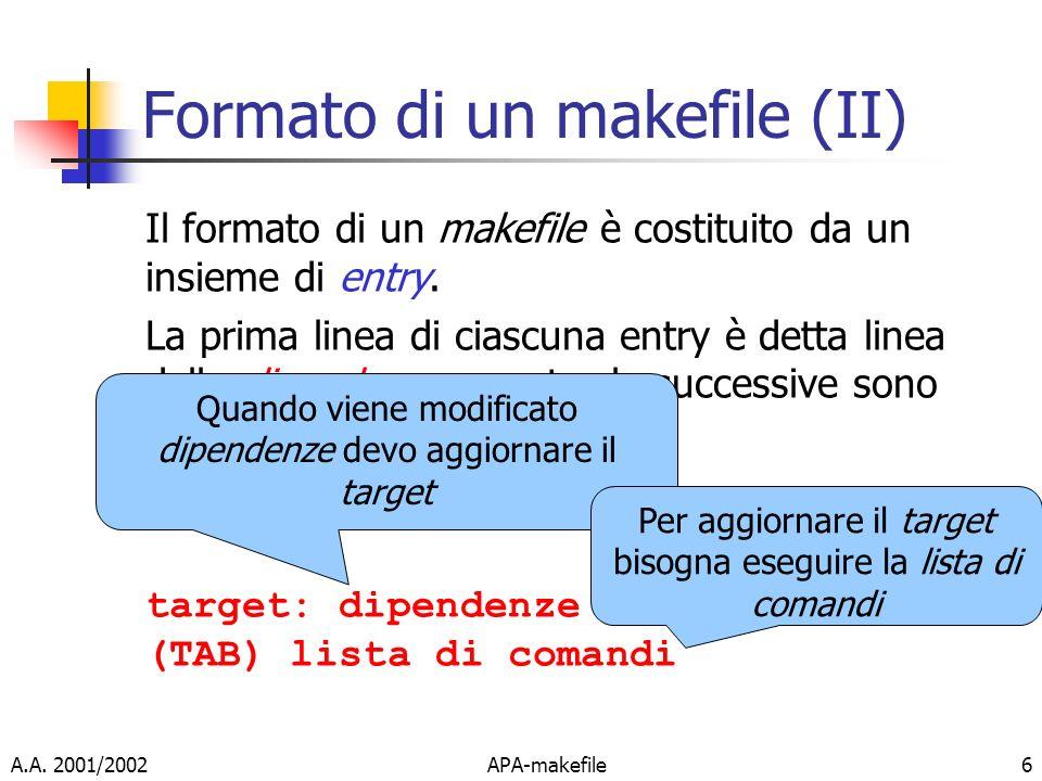 A.A. 2001/2002APA-makefile6 Formato di un makefile (II) Il formato di un makefile è costituito da un insieme di entry. La prima linea di ciascuna entr