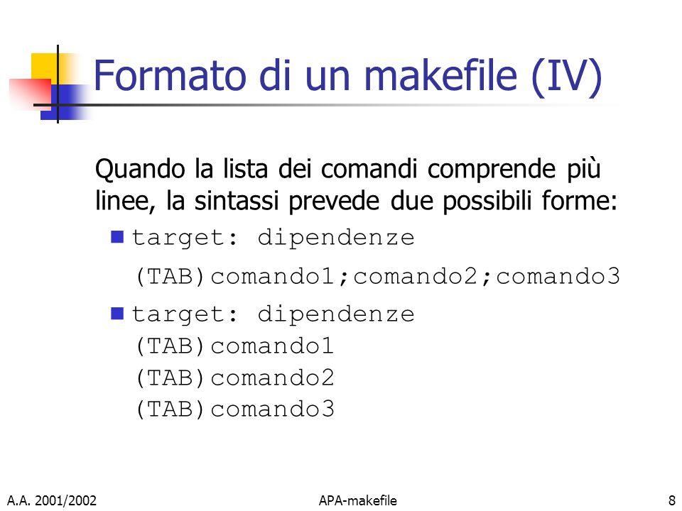 A.A. 2001/2002APA-makefile8 Formato di un makefile (IV) Quando la lista dei comandi comprende più linee, la sintassi prevede due possibili forme: targ