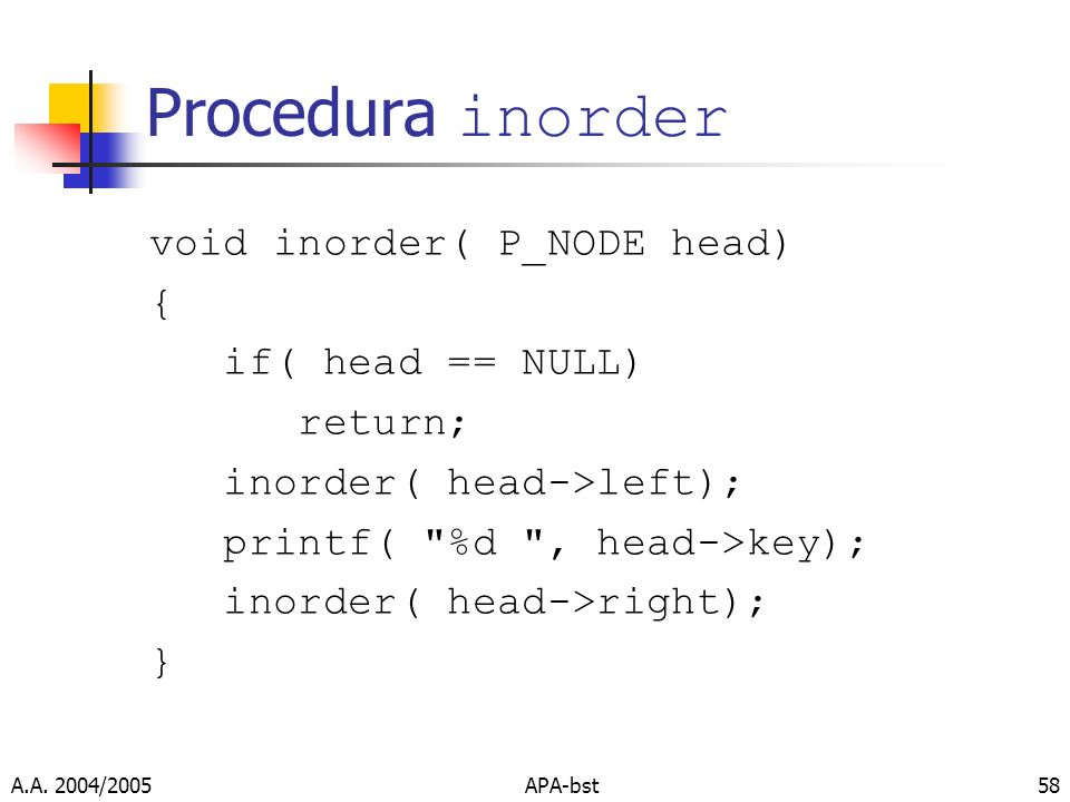 A.A. 2004/2005APA-bst58 Procedura inorder void inorder( P_NODE head) { if( head == NULL) return; inorder( head->left); printf(