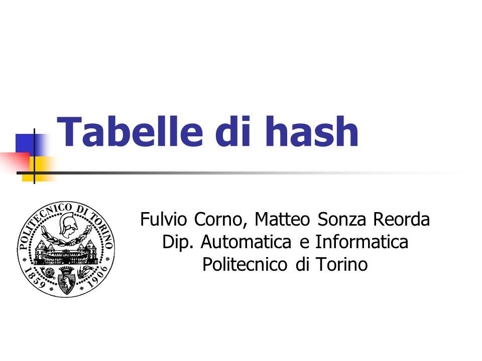 Tabelle di hash Fulvio Corno, Matteo Sonza Reorda Dip.