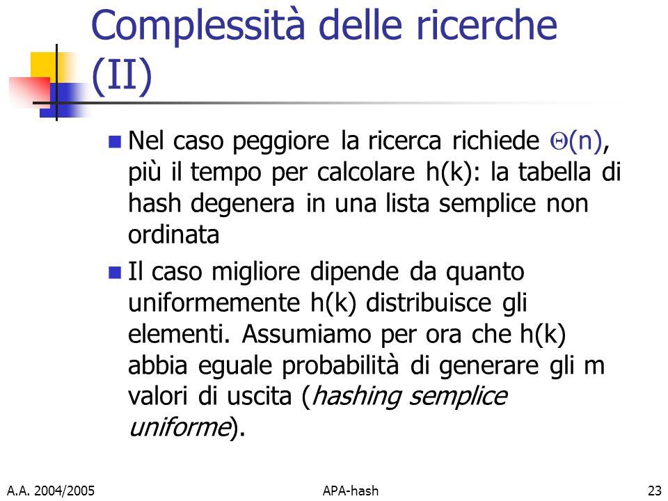 A.A. 2004/2005APA-hash23 Complessità delle ricerche (II) Nel caso peggiore la ricerca richiede (n), più il tempo per calcolare h(k): la tabella di has