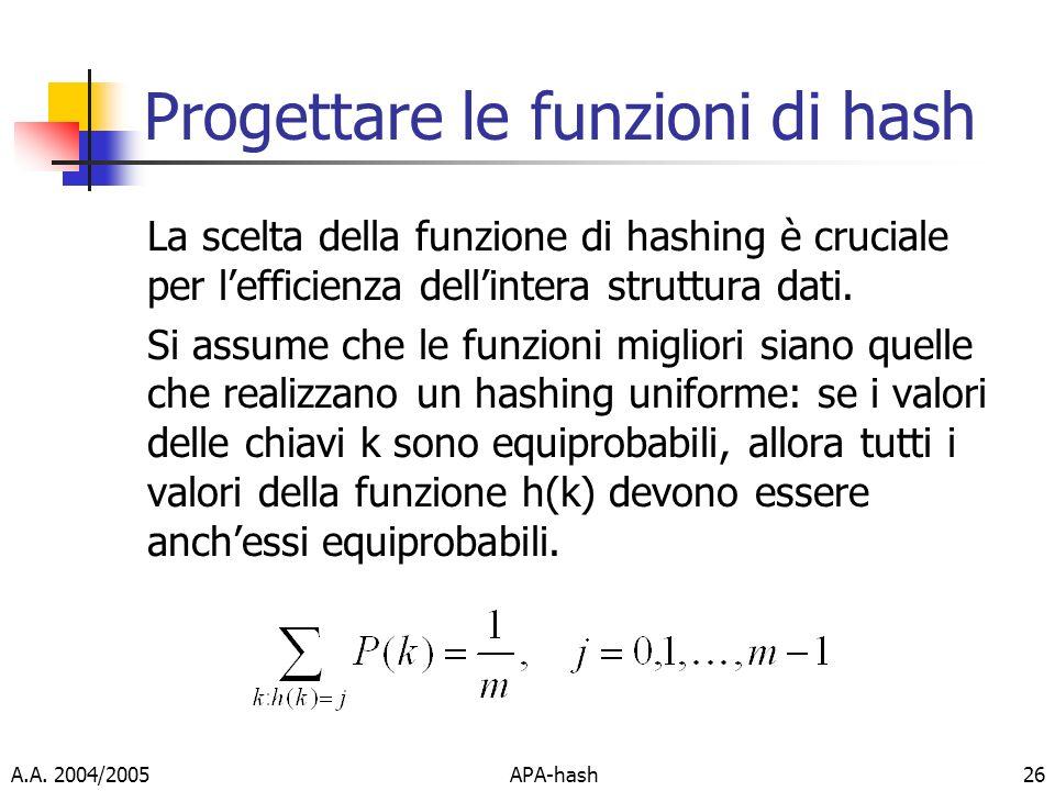 A.A. 2004/2005APA-hash26 Progettare le funzioni di hash La scelta della funzione di hashing è cruciale per lefficienza dellintera struttura dati. Si a