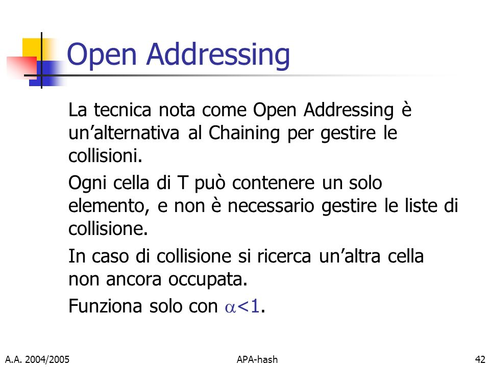 A.A. 2004/2005APA-hash42 Open Addressing La tecnica nota come Open Addressing è unalternativa al Chaining per gestire le collisioni. Ogni cella di T p