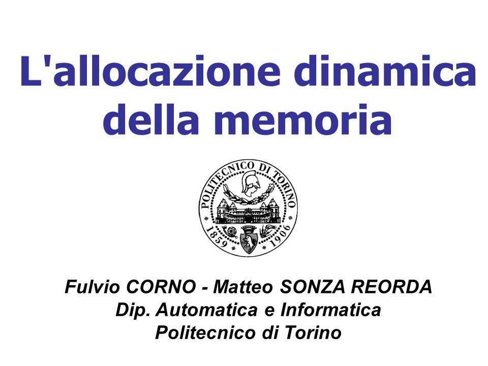 L'allocazione dinamica della memoria Fulvio CORNO - Matteo SONZA REORDA Dip. Automatica e Informatica Politecnico di Torino