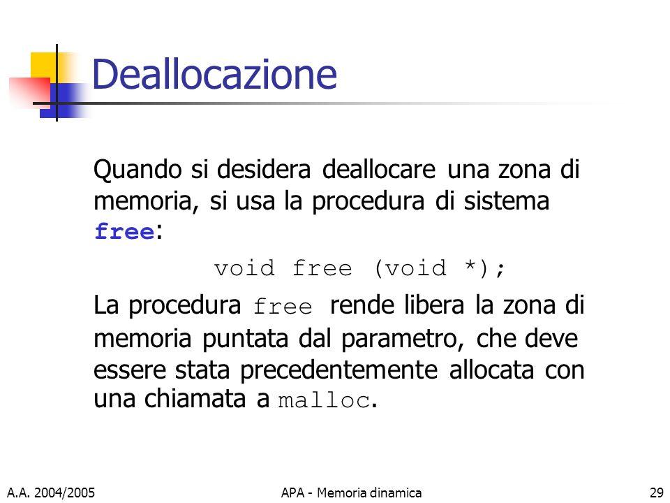 A.A. 2004/2005APA - Memoria dinamica29 Deallocazione Quando si desidera deallocare una zona di memoria, si usa la procedura di sistema free : void fre