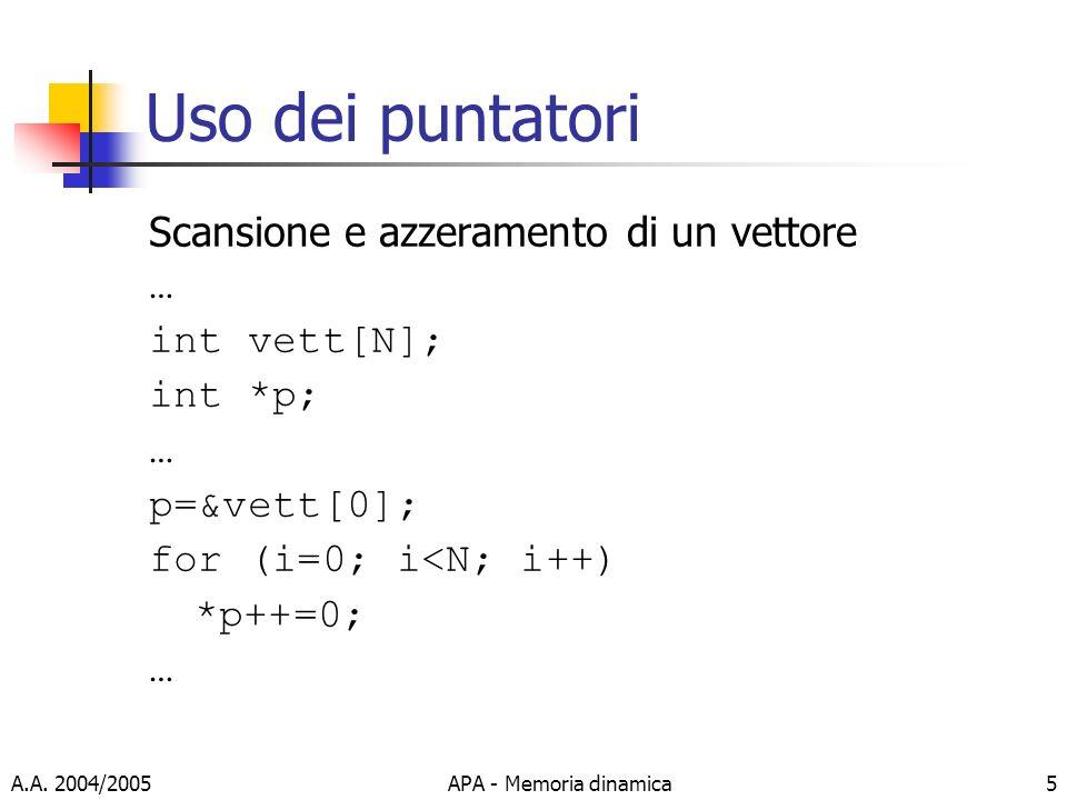 A.A. 2004/2005APA - Memoria dinamica5 Uso dei puntatori Scansione e azzeramento di un vettore … int vett[N]; int *p; … p=&vett[0]; for (i=0; i<N; i++)