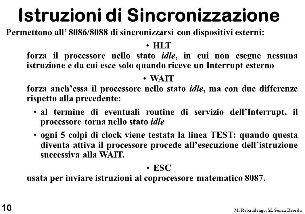 10 M. Rebaudengo, M. Sonza Reorda Istruzioni di Sincronizzazione Permettono all 8086/8088 di sincronizzarsi con dispositivi esterni: HLT forza il proc