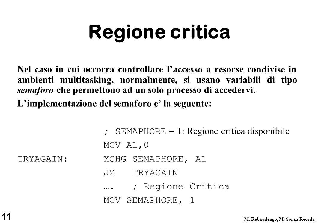 11 M. Rebaudengo, M. Sonza Reorda Regione critica Nel caso in cui occorra controllare laccesso a resorse condivise in ambienti multitasking, normalmen
