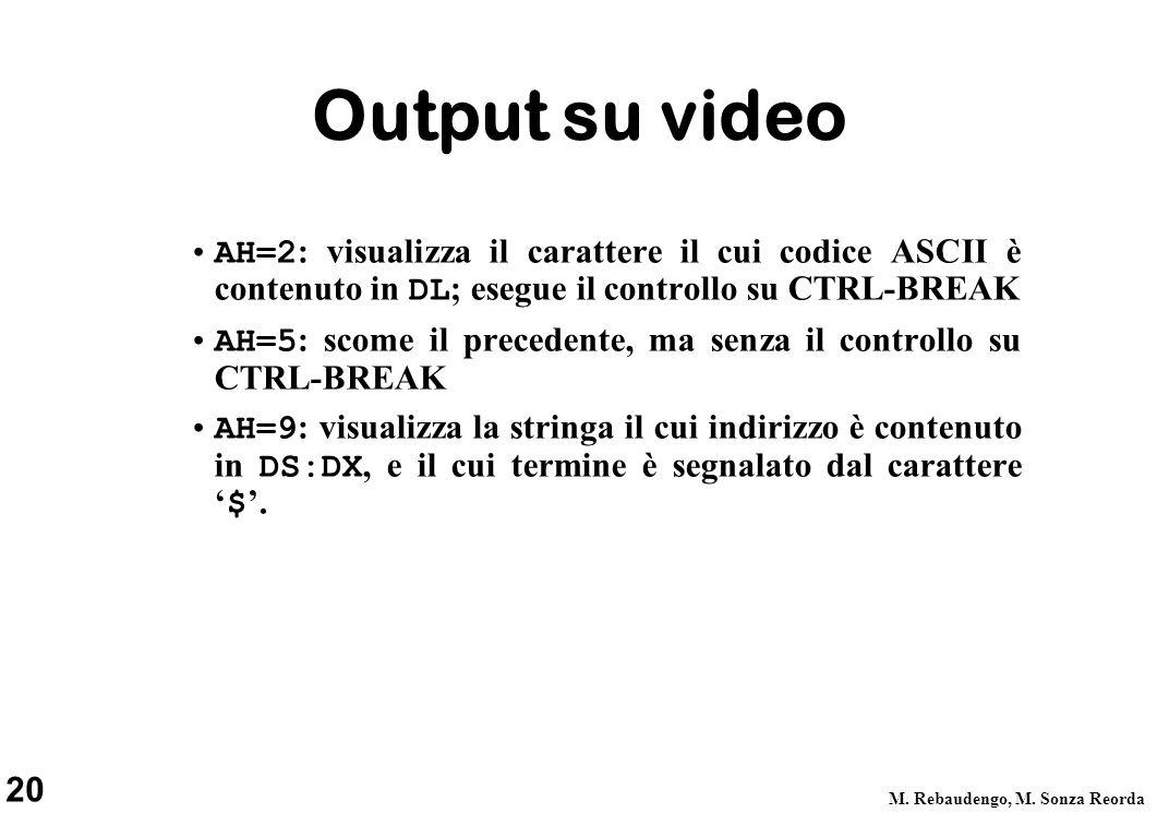 20 M. Rebaudengo, M. Sonza Reorda Output su video AH=2 : visualizza il carattere il cui codice ASCII è contenuto in DL ; esegue il controllo su CTRL-B