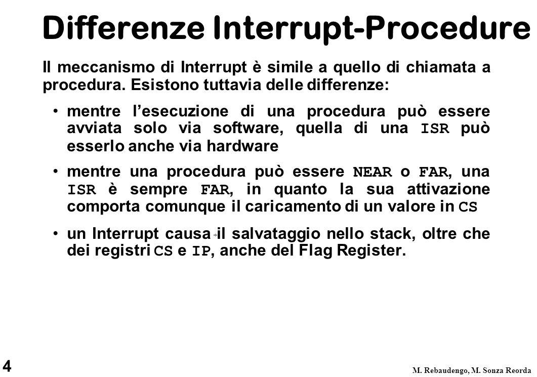 4 M. Rebaudengo, M. Sonza Reorda Il meccanismo di Interrupt è simile a quello di chiamata a procedura. Esistono tuttavia delle differenze: mentre lese