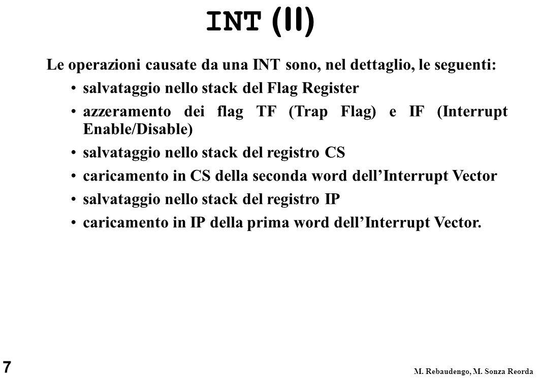 7 M. Rebaudengo, M. Sonza Reorda Le operazioni causate da una INT sono, nel dettaglio, le seguenti: salvataggio nello stack del Flag Register azzerame