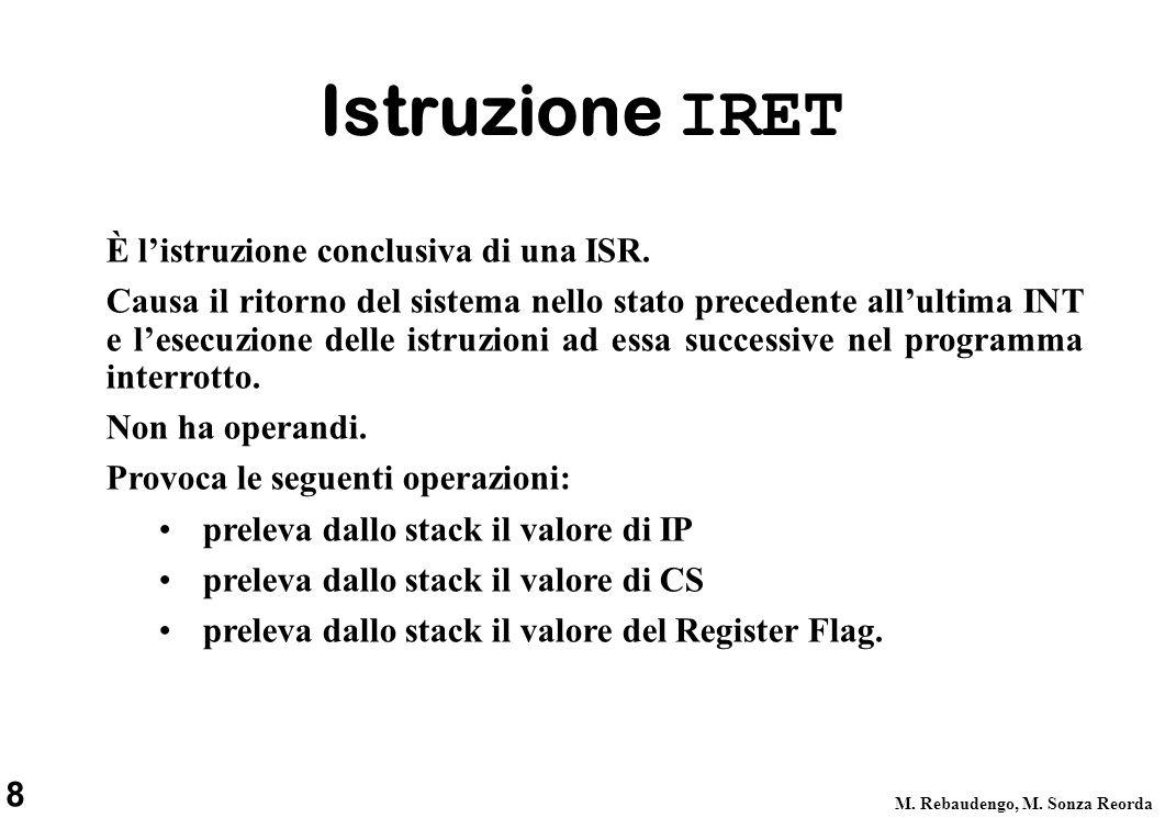 8 M. Rebaudengo, M. Sonza Reorda Istruzione IRET È listruzione conclusiva di una ISR. Causa il ritorno del sistema nello stato precedente allultima IN