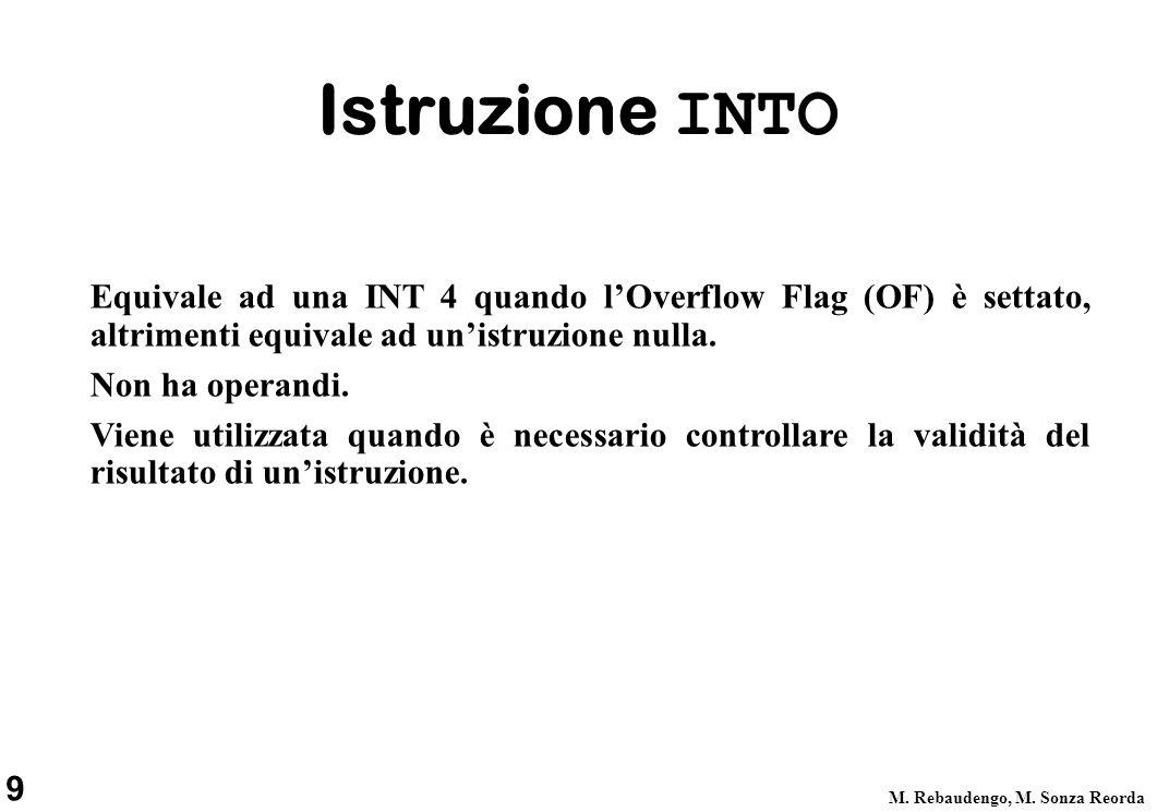 9 M. Rebaudengo, M. Sonza Reorda Istruzione INTO Equivale ad una INT 4 quando lOverflow Flag (OF) è settato, altrimenti equivale ad unistruzione nulla