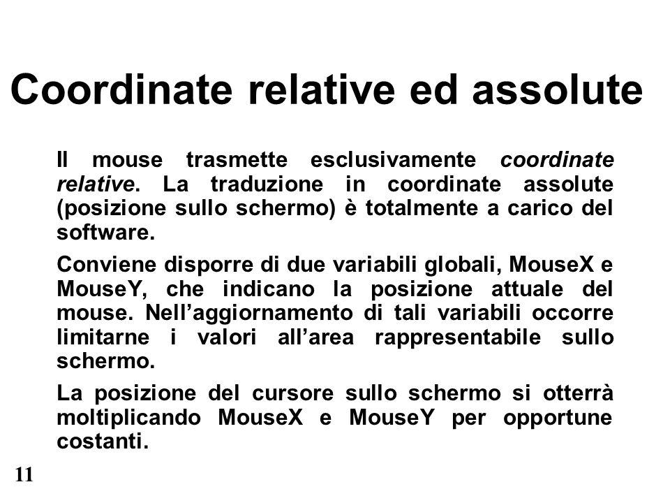 11 Coordinate relative ed assolute Il mouse trasmette esclusivamente coordinate relative. La traduzione in coordinate assolute (posizione sullo scherm