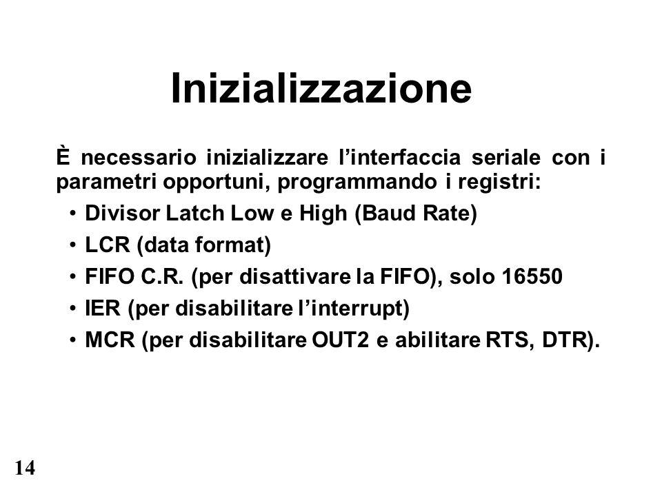 14 Inizializzazione È necessario inizializzare linterfaccia seriale con i parametri opportuni, programmando i registri: Divisor Latch Low e High (Baud