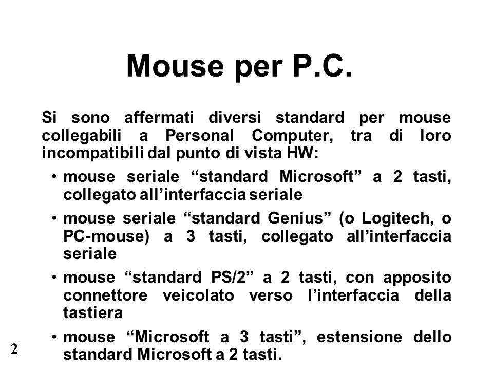 2 Mouse per P.C. Si sono affermati diversi standard per mouse collegabili a Personal Computer, tra di loro incompatibili dal punto di vista HW: mouse