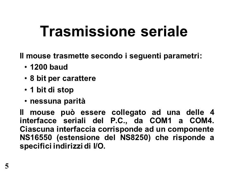 5 Trasmissione seriale Il mouse trasmette secondo i seguenti parametri: 1200 baud 8 bit per carattere 1 bit di stop nessuna parità Il mouse può essere