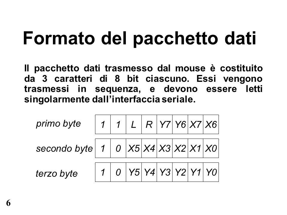 7 Pacchetto dati: la trama i bit 7 e 6 indicano la trama del pacchetto: –nel primo byte valgono 11 –nel secondo e terzo byte valgono 10 per leggere dati significativi, occorre: –sincronizzarsi con il trasmettitore, aspettando il primo byte con indicatore di trama 11 –attendere i successivi due caratteri, verificando che abbiano indicatore pari a 10 in caso di errore occorre scartare quanto ricevuto e aspettare il prossimo pacchetto.