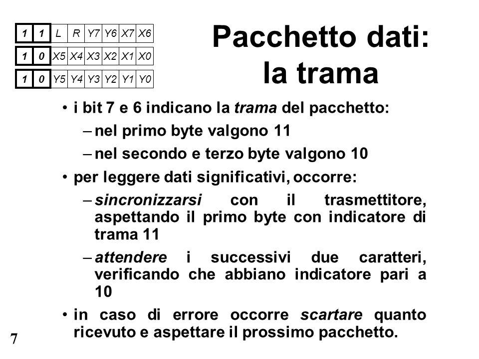 7 Pacchetto dati: la trama i bit 7 e 6 indicano la trama del pacchetto: –nel primo byte valgono 11 –nel secondo e terzo byte valgono 10 per leggere da
