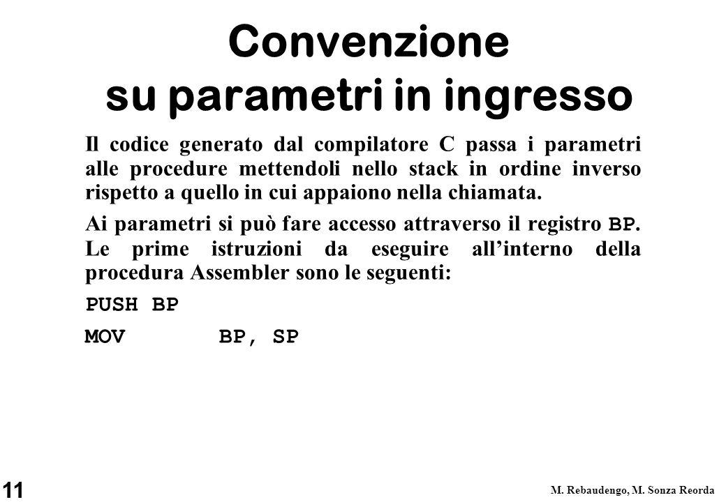 11 M. Rebaudengo, M. Sonza Reorda Convenzione su parametri in ingresso Il codice generato dal compilatore C passa i parametri alle procedure mettendol