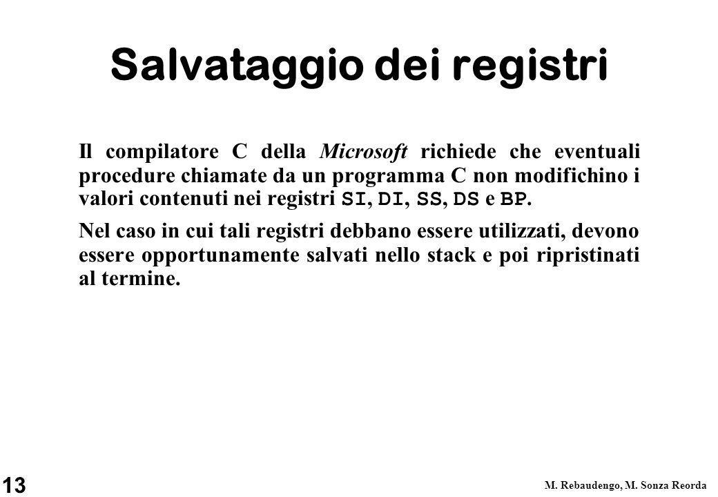 13 M. Rebaudengo, M. Sonza Reorda Salvataggio dei registri Il compilatore C della Microsoft richiede che eventuali procedure chiamate da un programma