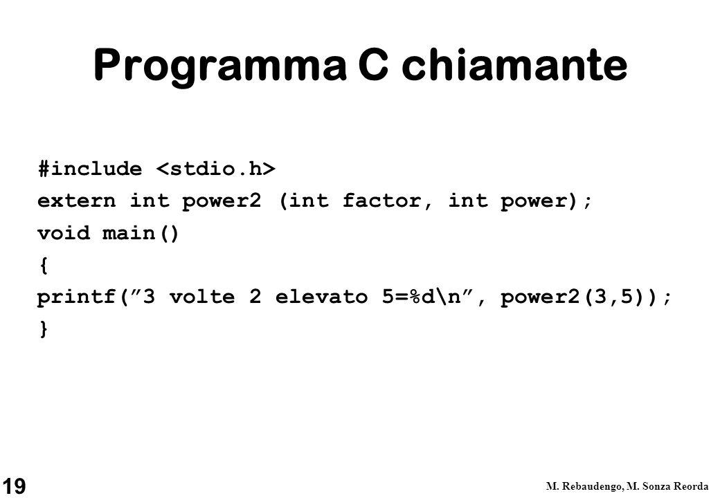 19 M. Rebaudengo, M. Sonza Reorda Programma C chiamante #include extern int power2 (int factor, int power); void main() { printf(3 volte 2 elevato 5=%