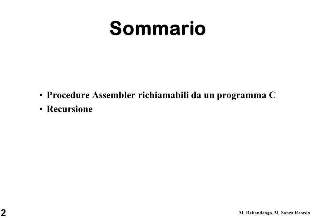 2 M. Rebaudengo, M. Sonza Reorda Sommario Procedure Assembler richiamabili da un programma C Recursione
