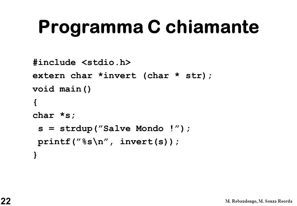 22 M. Rebaudengo, M. Sonza Reorda Programma C chiamante #include extern char *invert (char * str); void main() { char *s; s = strdup(Salve Mondo !); p