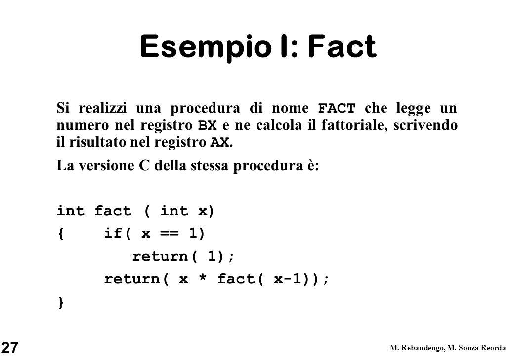 27 M. Rebaudengo, M. Sonza Reorda Esempio I: Fact Si realizzi una procedura di nome FACT che legge un numero nel registro BX e ne calcola il fattorial