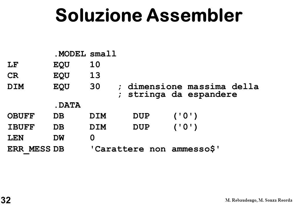 32 M. Rebaudengo, M. Sonza Reorda Soluzione Assembler.MODELsmall LFEQU10 CREQU13 DIM EQU 30 ; dimensione massima della ; stringa da espandere.DATA OBU