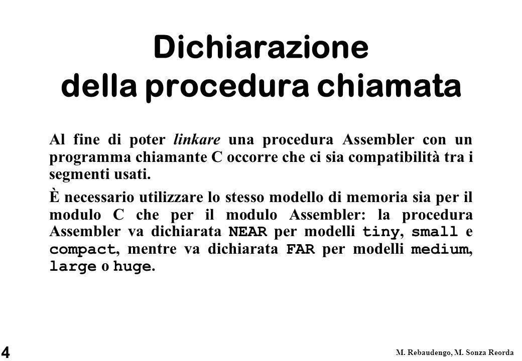 4 M. Rebaudengo, M. Sonza Reorda Dichiarazione della procedura chiamata Al fine di poter linkare una procedura Assembler con un programma chiamante C