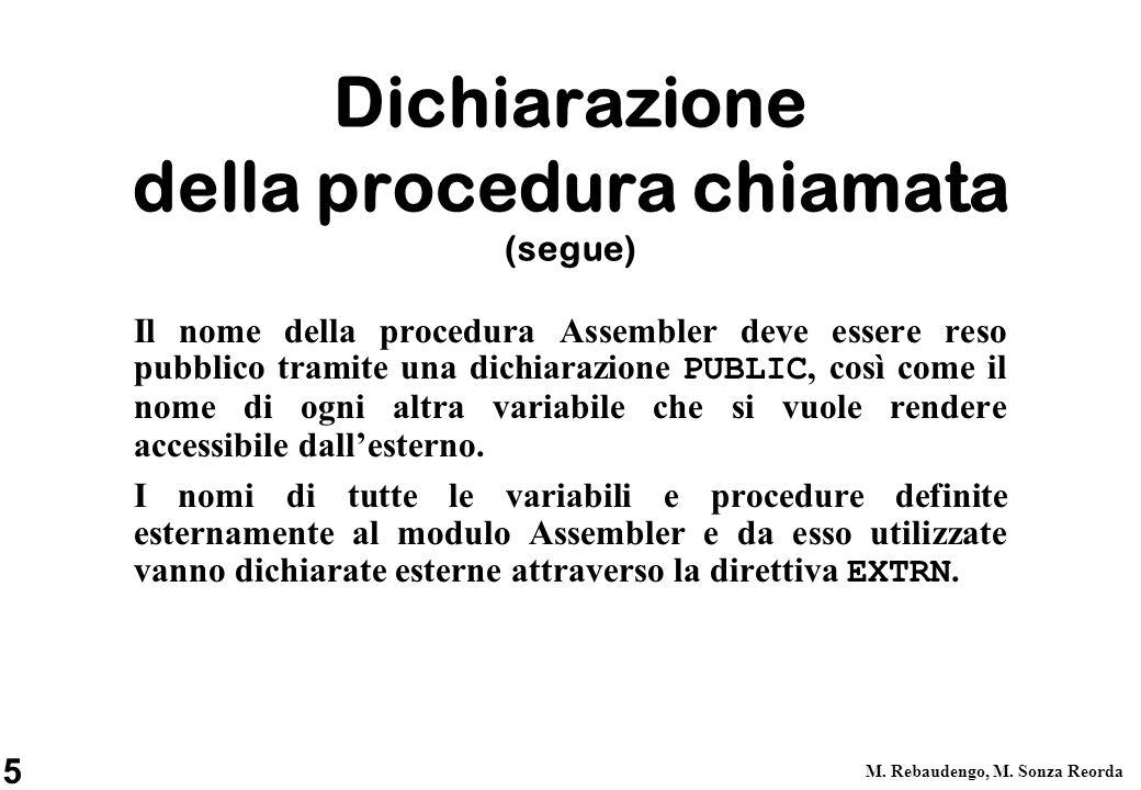 5 M. Rebaudengo, M. Sonza Reorda Dichiarazione della procedura chiamata (segue) Il nome della procedura Assembler deve essere reso pubblico tramite un
