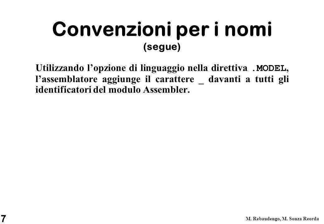 7 M. Rebaudengo, M. Sonza Reorda Convenzioni per i nomi (segue) Utilizzando lopzione di linguaggio nella direttiva.MODEL, lassemblatore aggiunge il ca